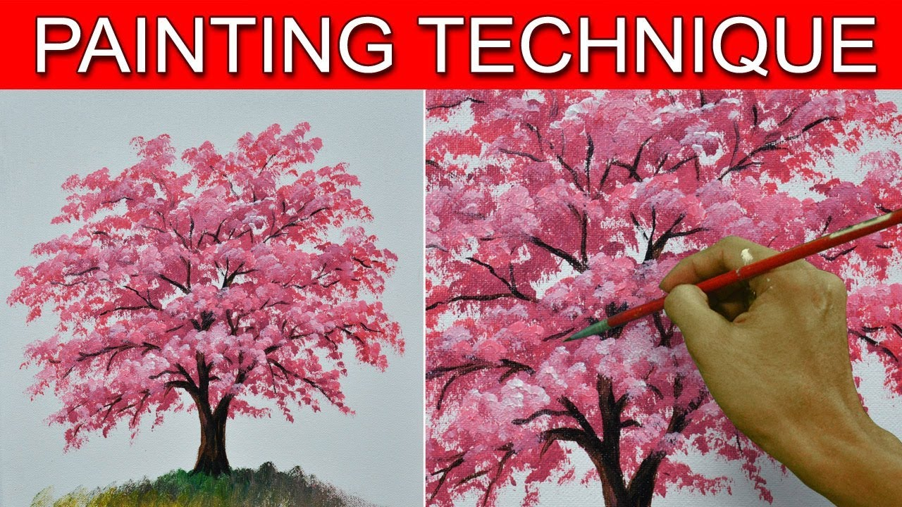how to paint a cherry tree in basic step by step easy acrylic