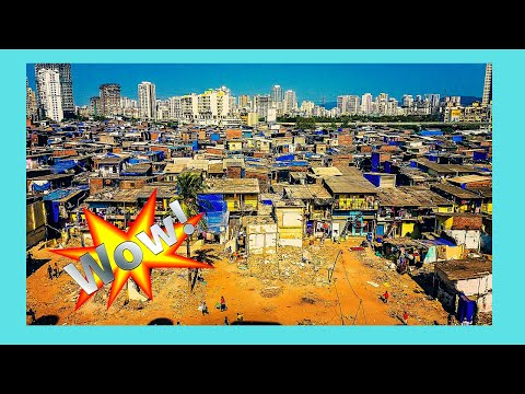 INDIA, the SLUMS of MUMBAI (BOMBAY) seen around the AIRPORT and after take-off, incredible views!