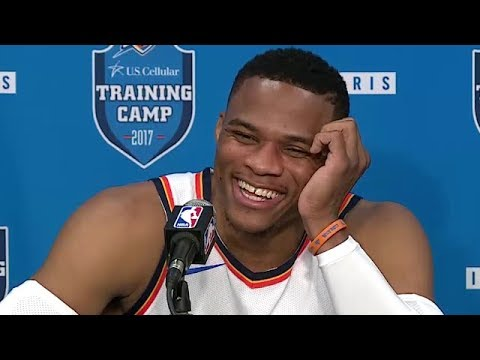 Reporter gets Nervous Asking Russell Westbrook A Question | Thunder Media Day | Sep 25, 2017