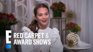alicia vikander thrilled for tomb raider film e live from the red carpet