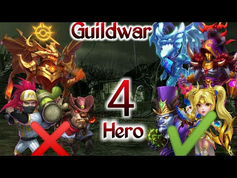 Guildwar Vs 1.6m Target   New Pet   4 Hero   Killing Zephrica   H2H   FlameGaurd Team   Castle Clash
