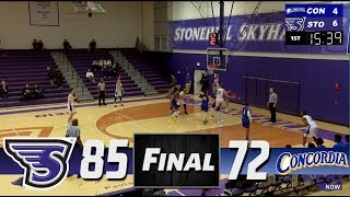 Stonehill Men's Basketball Highlights and Post-Game Interviews vs Concordia