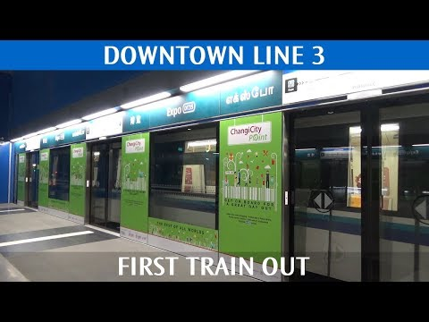 SBS Transit Downtown Line 3 - First Train Out of Expo