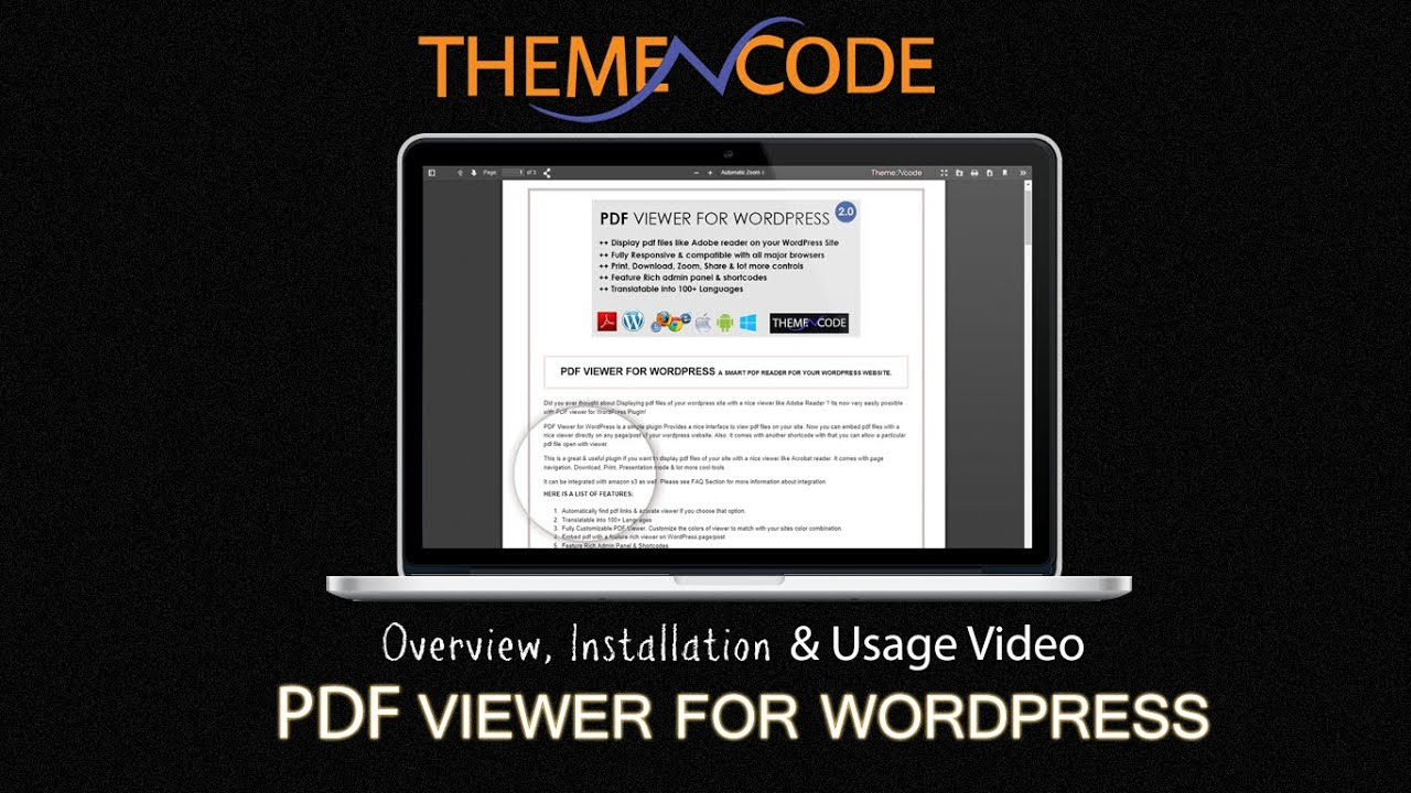 PDF Viewer for WordPress Plugin Overview, Installation & Usage Video