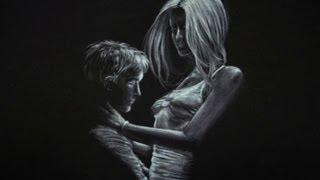 como dibujar sobre papel negro dibujo de amor
