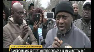 Cameroonians protest outside French Embassy in Washingtion D.C.