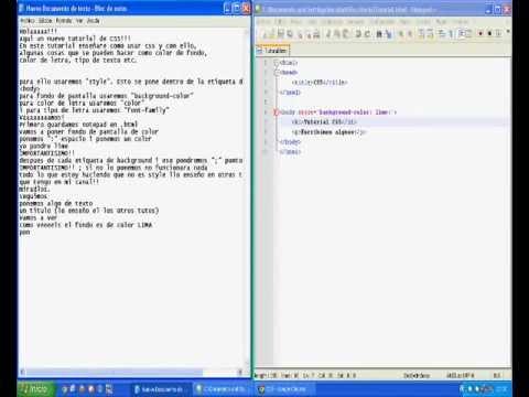 Tutoriales - CSS - COLOR DE FONDO y COLOR DE LETRA + Tipo de letra ...