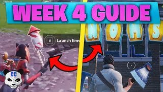 Fortnite WEEK 4 CHALLENGES! |Launch Fireworks Locations & Search Letter N.O.M.S (BR Season 7 Guide)