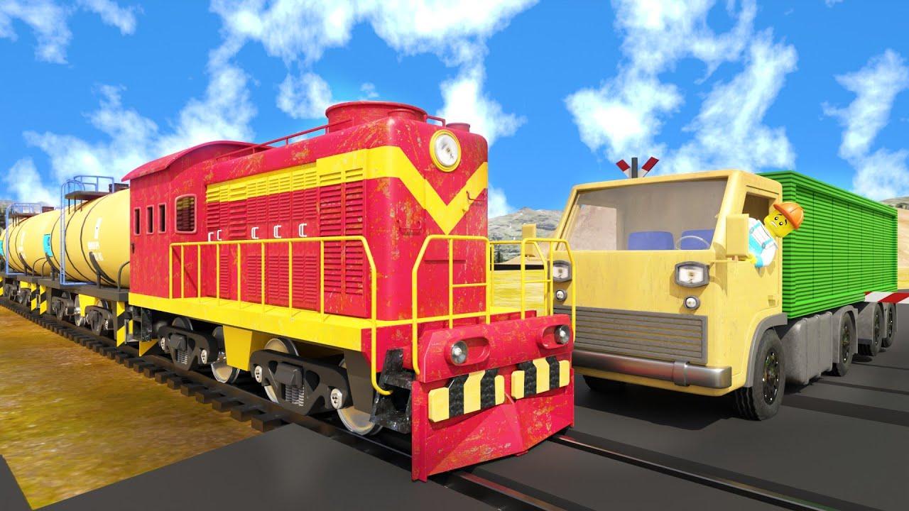 Truck racing cartoon - Train & Truck Accident will happen -  choo choo train kids videos