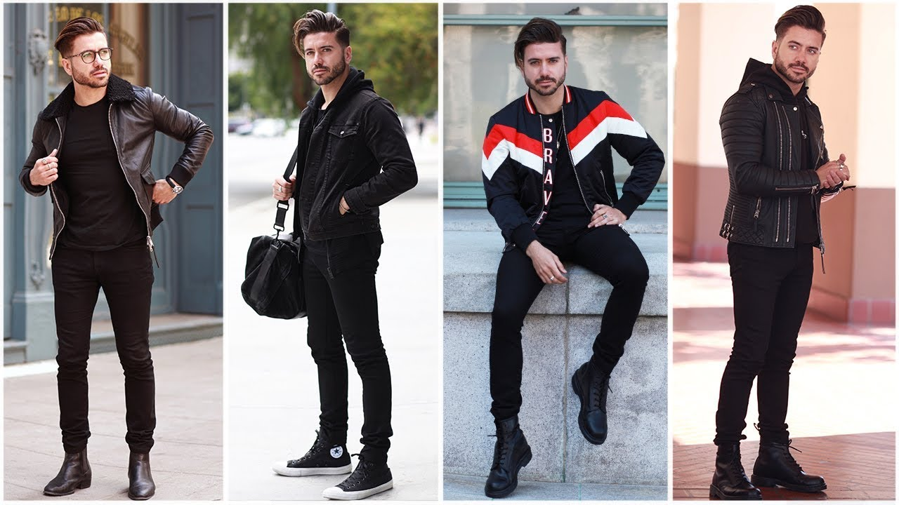 4 EASY OUTFITS FOR MEN (All Black)