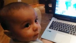 Cute Baby Tries Using Computer For The First Time - Baby Loves PC