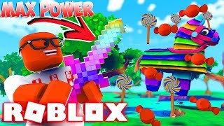 Ich habe die MAX POWER RAINBOW SWORD In Roblox Pinata Simulator