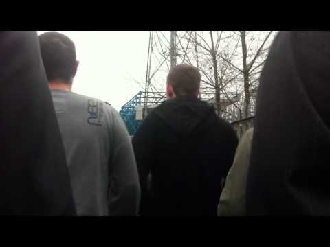 Leicester fans walking through the cage to the new den V Millwall