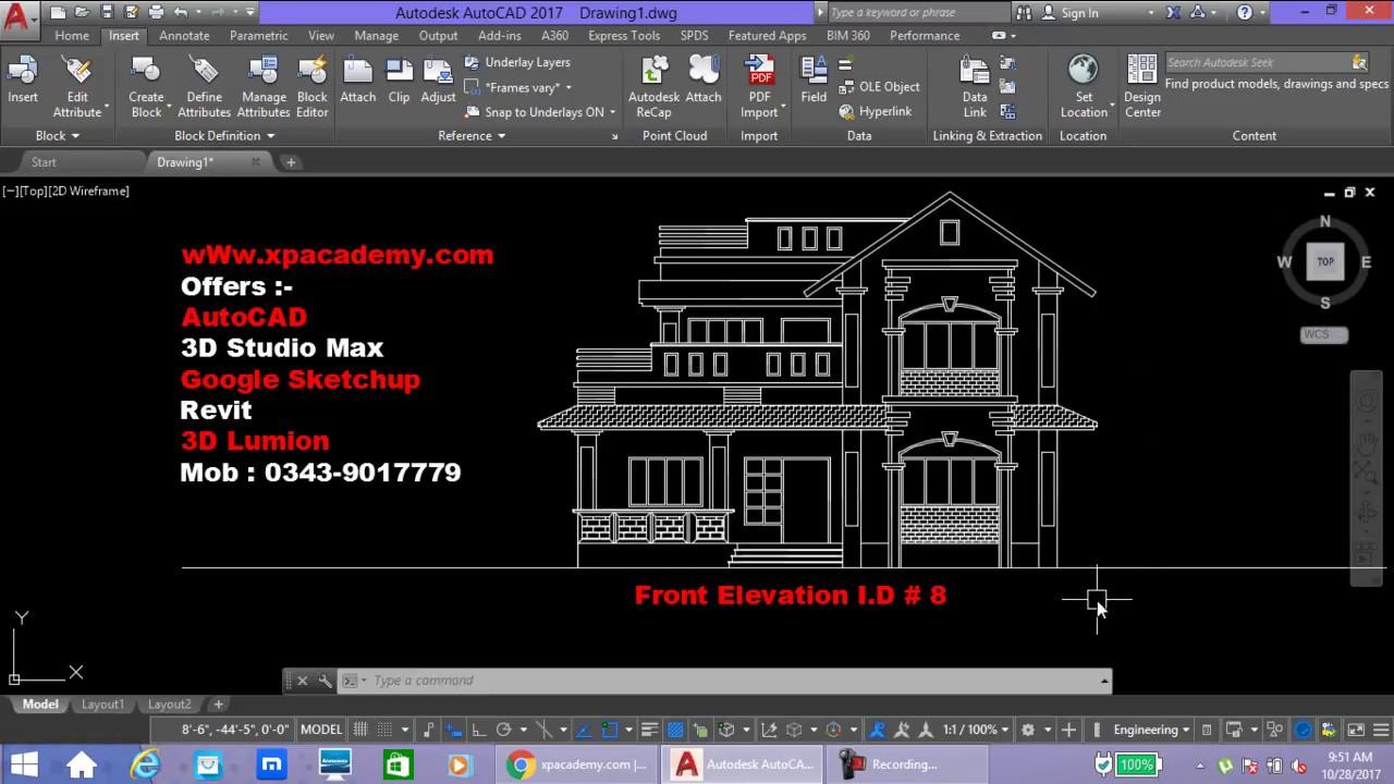 Front Elevation Autocad : Front elevation autocad urdu tutorials xpacademy youtube