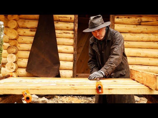 The Off Grid Sauna Log Cabin Door   Woodworking DIY with Hand Tools