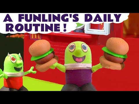 Funny Funlings Daily Routine Fun Toy Story With McDonalds Drive Thru Pretend Play Food