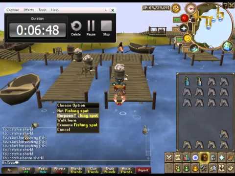 Runescape   Fishing Baron Sharks With Juju Fishing Potion