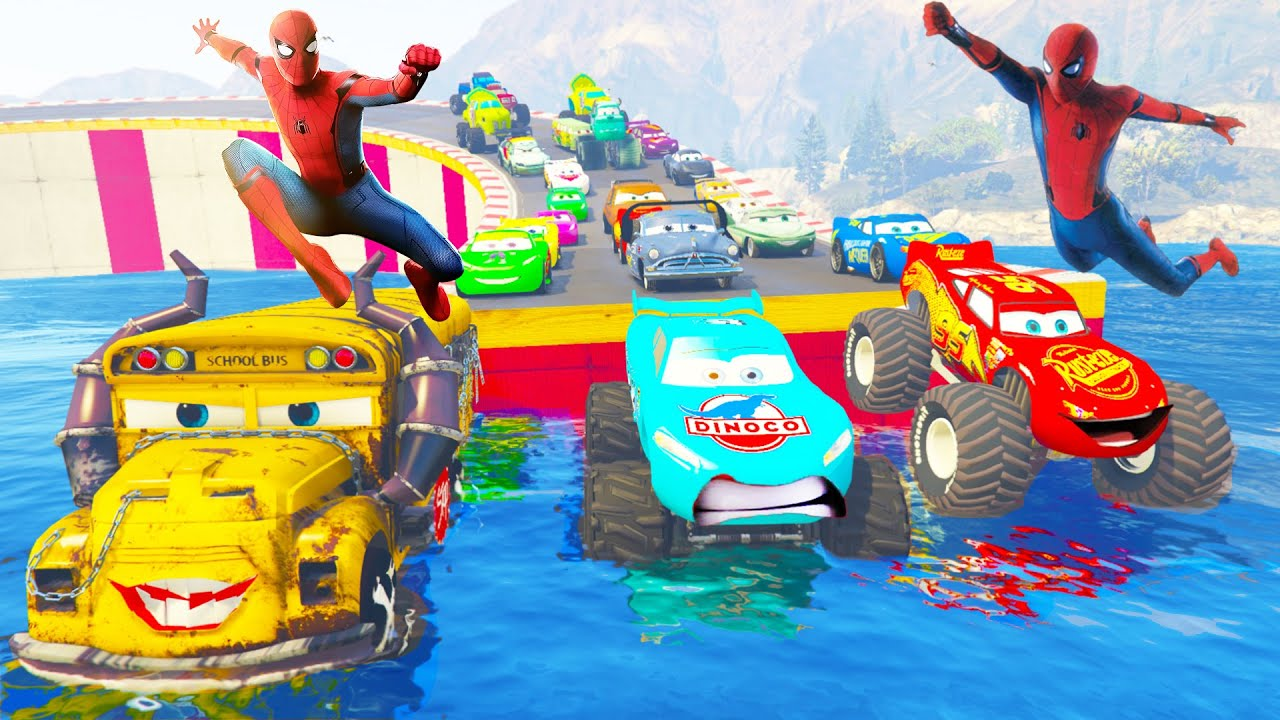 Spiderman Cars Monster McQueen Truck Funny Car Giant Truck in trouble the Train #spiderman