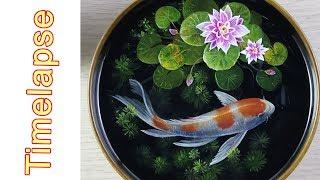 TIMELAPSE - 3d koifish painting in resin