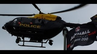 police helicopter landing for simon andrews metropole corner north west 200 17th may 2014