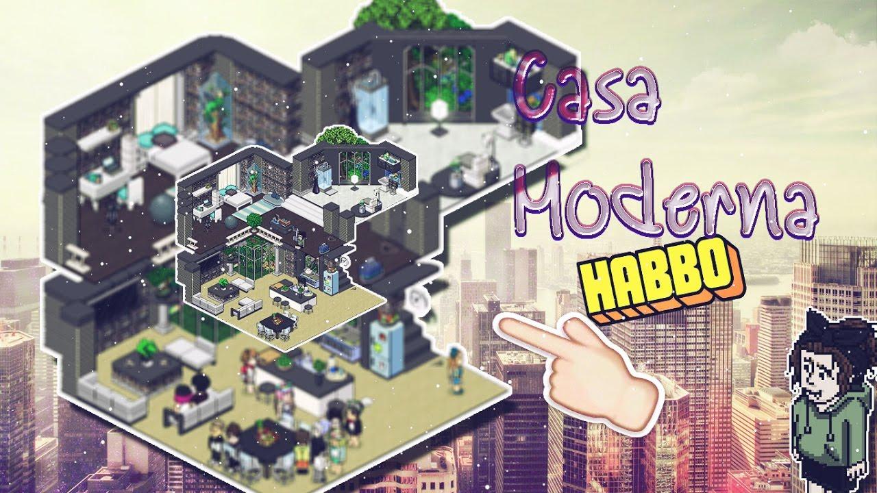 Casa moderna 2 pisos habbo oreocokiee youtube for Casa moderna habbo