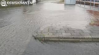 Hoogwater in de haven van Delfzijl