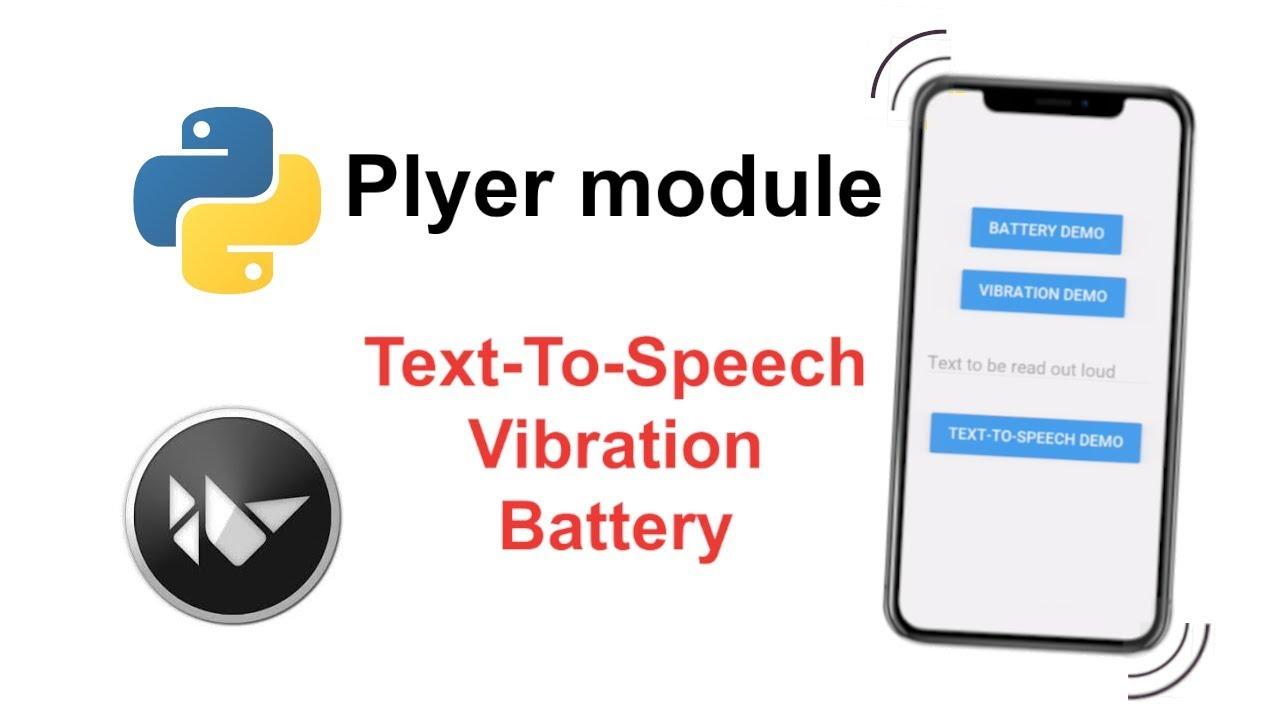 Plyer Module Text-To-Speech, Vibration, Battery Tutorial | Python Cross-Platform App Development