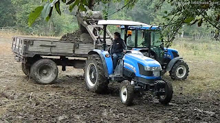 Newholland TT55 tek ve çift çeker Ford 3600  çamur içinde performansı   hayvan kemüresi yüklemesi