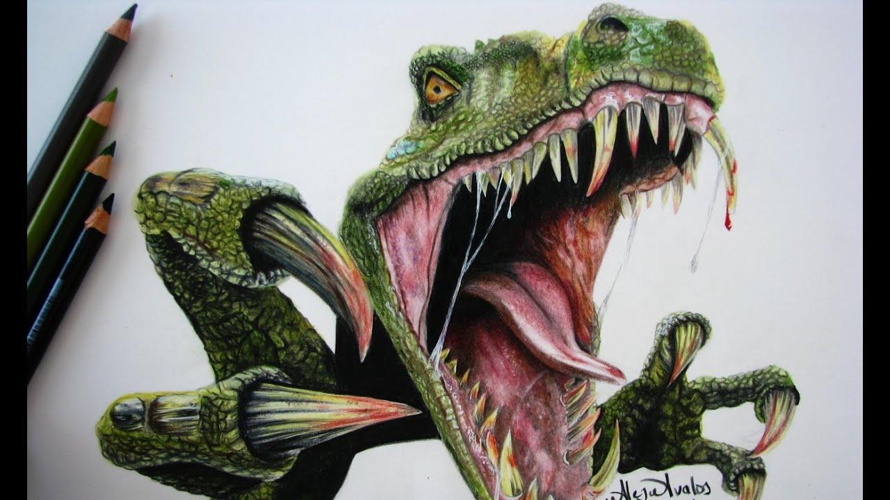 Tutorial: Cómo dibujar piel de dinosaurio con colores (Tiranosaurio ...