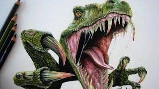 Tutorial: Cómo dibujar piel de dinosaurio con colores (Tiranosaurio) / Cómo dibujar un dinosaurio