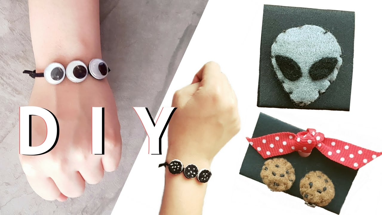 DIY Felt Oreo Bracelet, Choc Chip Cookie Earrings, Alien Patch Pin