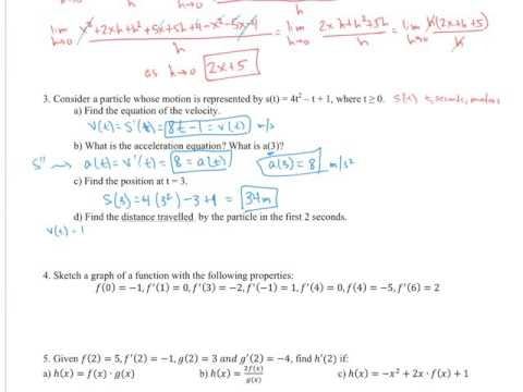 AP Calculus Chapter 3 Review 3-1 to 3-4