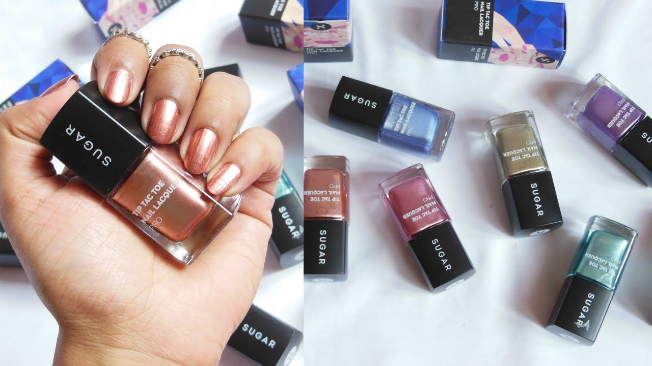 New Sugar Tip Tac Toe Nail Lacquer Review Demo Metal Collection 6 Shades Poonam Bmm
