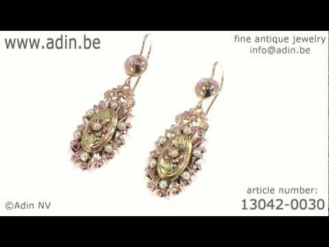 Victorian gold pendant earrings with real half orient seed pearls. (Adin reference: 13042-0030)