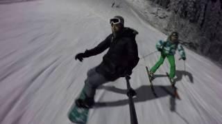 Сноубордист vs Лыжник на склоне с Go Pro (Ялгора, Петрозаводск)