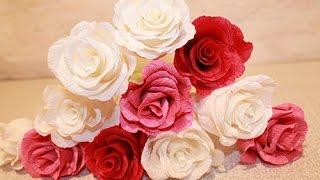 видео как сделать розу из гофрированной бумаги