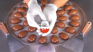 ASMR - Massive Kinder Surprise Egg Ice Cream Rolls  oddly satisfying Video with Chocolate Eggs Food
