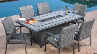 SunVilla Indigo 7-Piece Woven Fire Dining Set