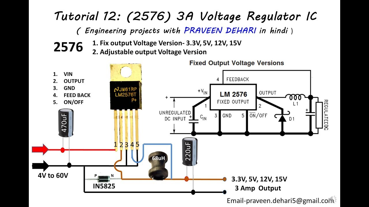 5v3a Stepdown Switching Voltage Regulator Schematic T 5v 3a With Lm2576t5v 2596 Ic Tutorial 12