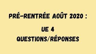 PR Tutorat Santé Limoges : UE 4 - Questions & Réponses