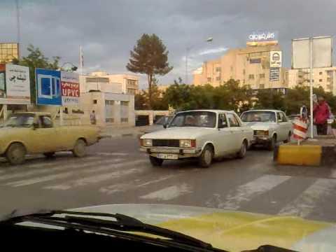 Mashhad, Iran Streets From Inside a Taxi (Khayyam Intersection)