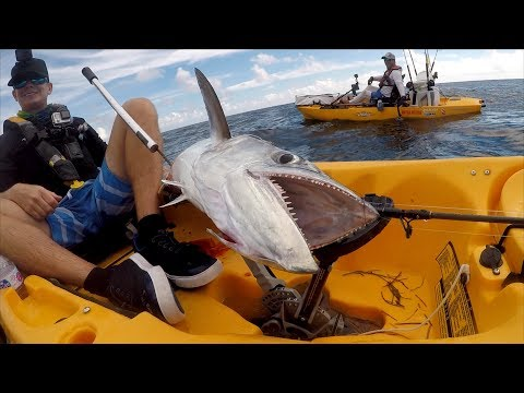 WATCH YOUR Feet With These RAZOR SHARP Teeth! GIANT King Mackerel-Deep Blue Kayak Fishing Charters