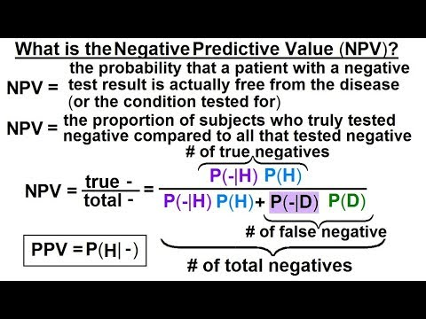 Prob & Stats - Bayes Theorem (15 of 24) What is Negative Predictive Value  (NPV)?