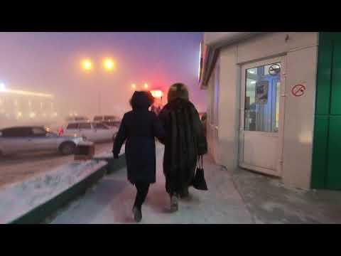 Street market at evening in December by -42°C in Yakutsk, Yakutia