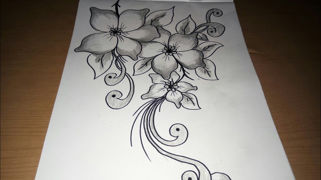Flower Sketch Drawings Very Easy To Follow And Suitable For Batik Designs Embroidery And Sequins O Youtube