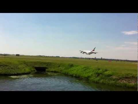 First landing of Emirates A380 at Schiphol airport