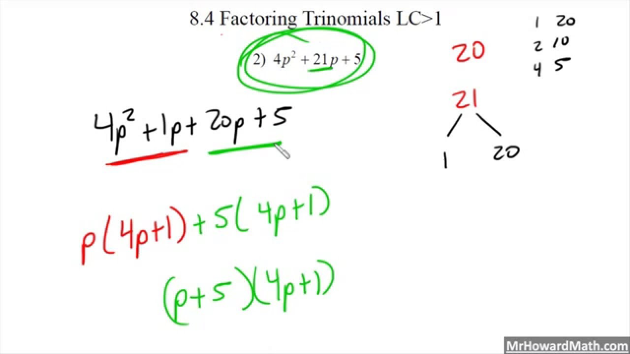 worksheet Factoring Trinomials A 1 factoring trinomials with leading coeffecient bigger than one easy method 1