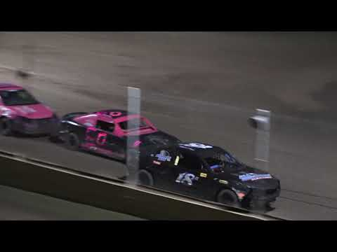 Heat 2 (10 Laps): 223-Jason Barrus, 21J-Jarred Wonsey, 60-Matt Taylor, 18R-Rodney Taylor, 50-Ronald Fuhrman, 5-Nick Pickard. - dirt track racing video image