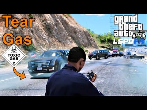 GTA 5 LSPDFR Tear Gas From Presidential Limo Saves Us From Attackers - NYPD & Secret Service Convoy