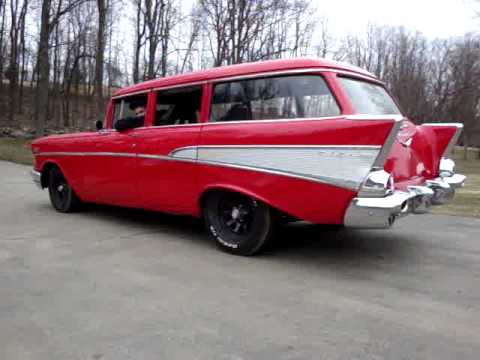 1957 chevy 4 door wagon exhaust youtube for 1957 chevy 4 door wagon for sale